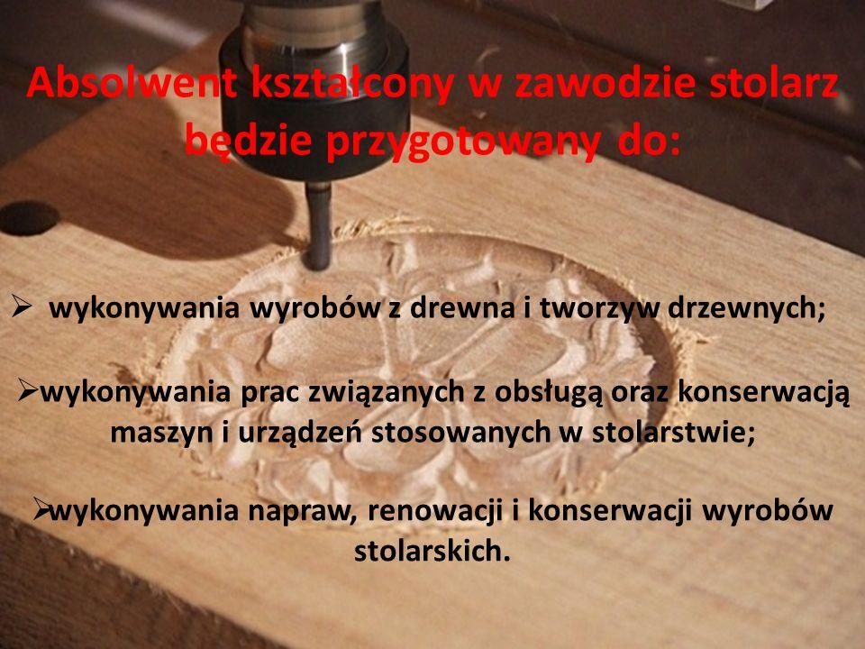 Absolwent kształcony w zawodzie stolarz będzie przygotowany do: wykonywania wyrobów z drewna i tworzyw drzewnych; wykonywania prac związanych z obsług