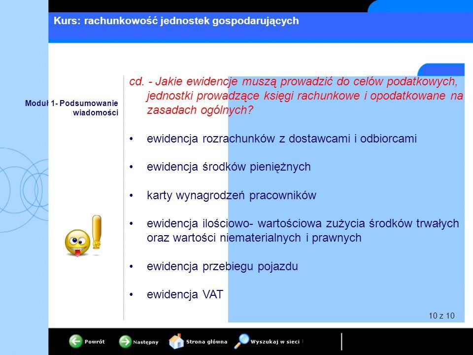 Kurs: rachunkowość jednostek gospodarujących Moduł 1- Podsumowanie wiadomości cd. - Jakie ewidencje muszą prowadzić do celów podatkowych, jednostki pr