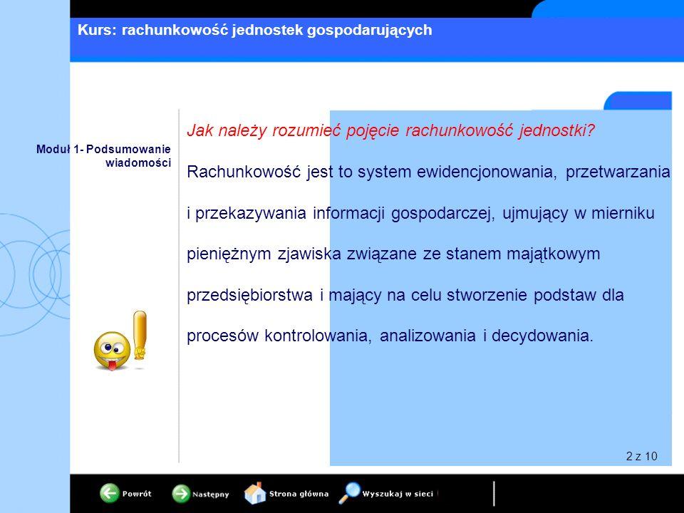 Kurs: rachunkowość jednostek gospodarujących 2 z 10 Moduł 1- Podsumowanie wiadomości Jak należy rozumieć pojęcie rachunkowość jednostki? Rachunkowość