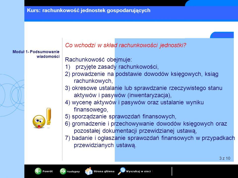 Kurs: rachunkowość jednostek gospodarujących 3 z 10 Moduł 1- Podsumowanie wiadomości Co wchodzi w skład rachunkowości jednostki? Rachunkowość obejmuje