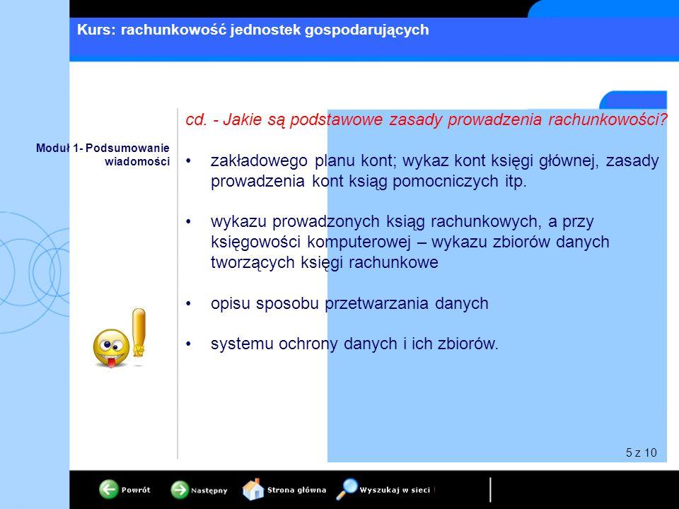 Kurs: rachunkowość jednostek gospodarujących Moduł 1- Podsumowanie wiadomości cd. - Jakie są podstawowe zasady prowadzenia rachunkowości? zakładowego