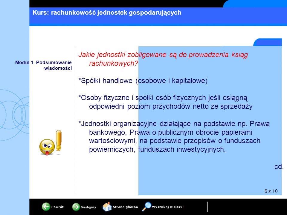 Kurs: rachunkowość jednostek gospodarujących Moduł 1- Podsumowanie wiadomości Jakie jednostki zobligowane są do prowadzenia ksiąg rachunkowych? *Spółk