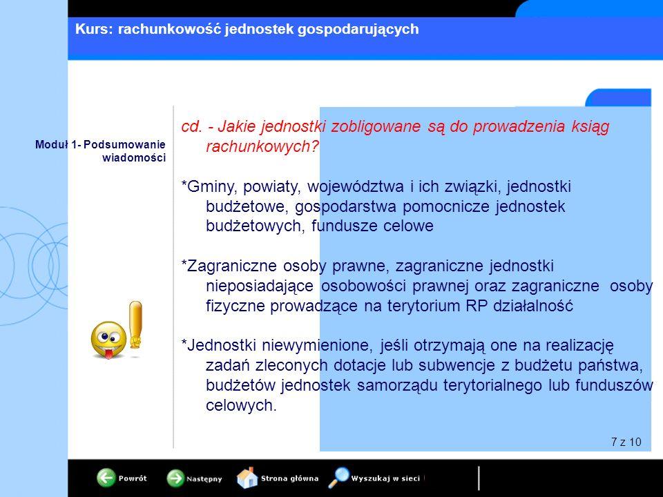 Kurs: rachunkowość jednostek gospodarujących Moduł 1- Podsumowanie wiadomości cd. - Jakie jednostki zobligowane są do prowadzenia ksiąg rachunkowych?