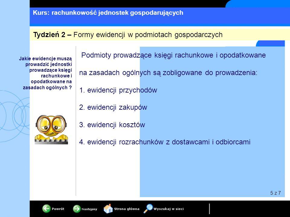 Kurs: rachunkowość jednostek gospodarujących 5.ewidencji środków pieniężnych 6.