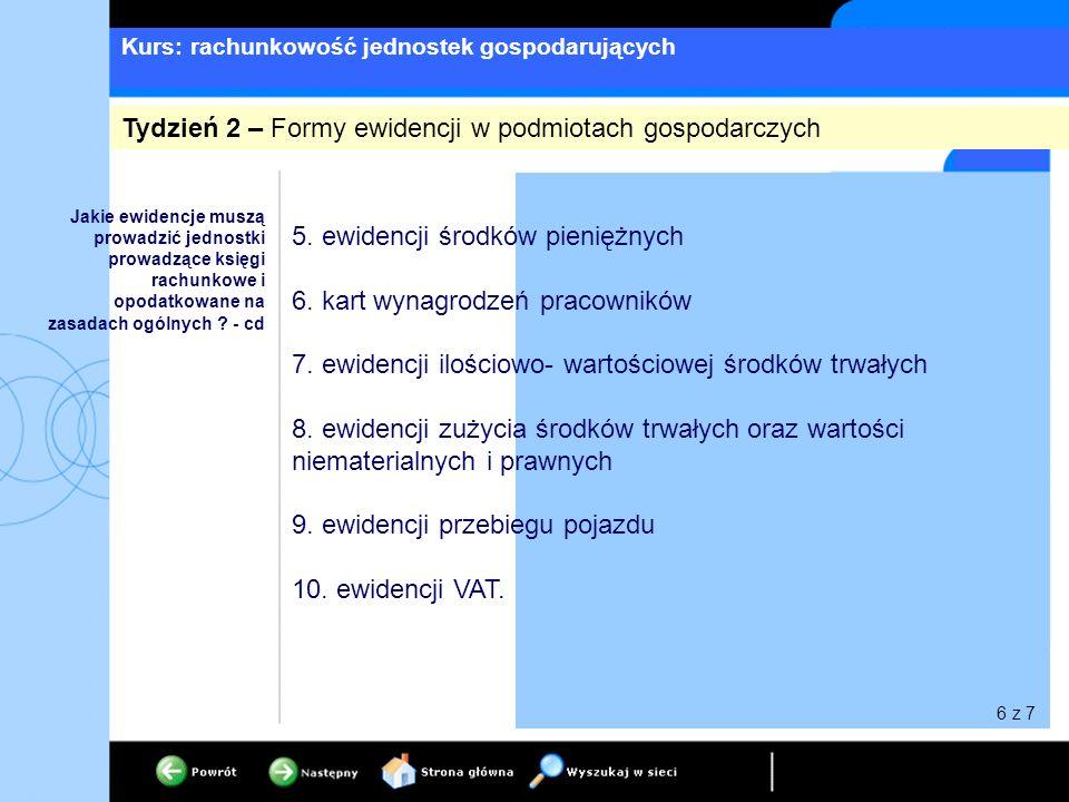 Kurs: rachunkowość jednostek gospodarujących 5. ewidencji środków pieniężnych 6.