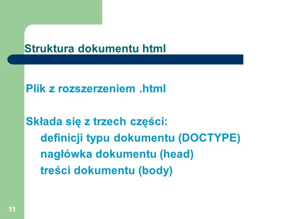 11 Struktura dokumentu html Plik z rozszerzeniem.html Składa się z trzech części: definicji typu dokumentu (DOCTYPE) nagłówka dokumentu (head) treści