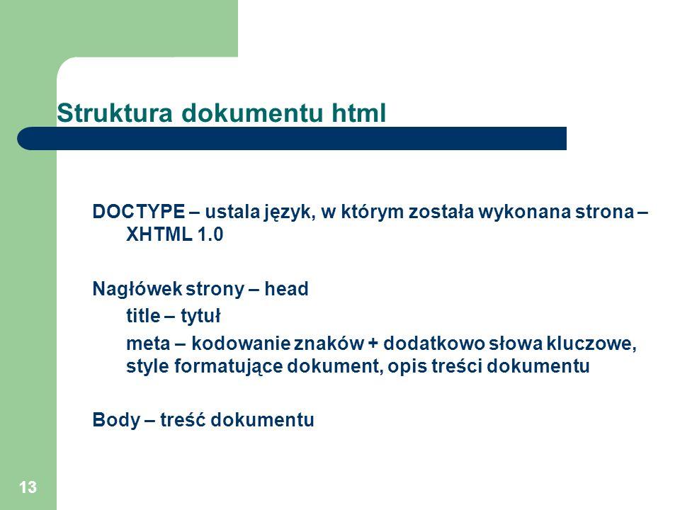 13 Struktura dokumentu html DOCTYPE – ustala język, w którym została wykonana strona – XHTML 1.0 Nagłówek strony – head title – tytuł meta – kodowanie