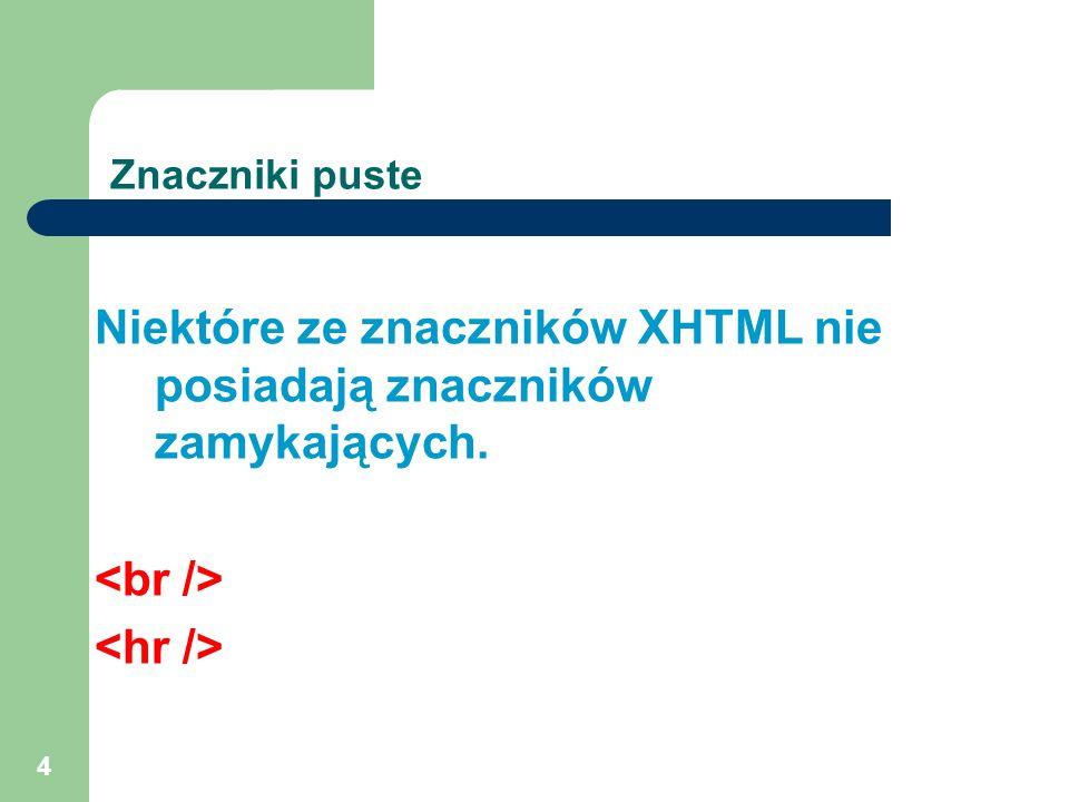 4 Znaczniki puste Niektóre ze znaczników XHTML nie posiadają znaczników zamykających.