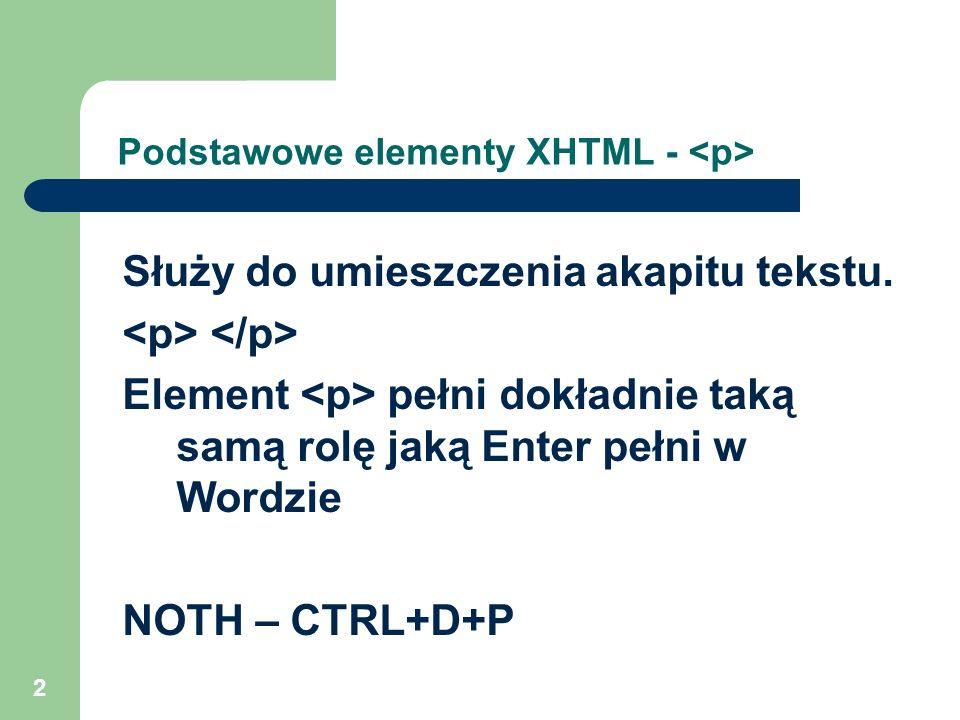 2 Podstawowe elementy XHTML - Służy do umieszczenia akapitu tekstu. Element pełni dokładnie taką samą rolę jaką Enter pełni w Wordzie NOTH – CTRL+D+P
