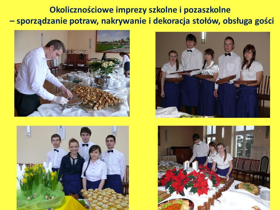 Okolicznościowe imprezy szkolne i pozaszkolne – sporządzanie potraw, nakrywanie i dekoracja stołów, obsługa gości