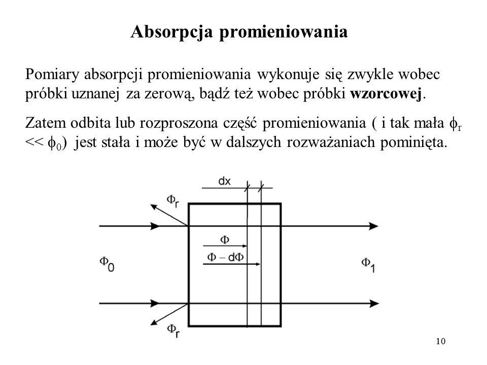 10 Absorpcja promieniowania Pomiary absorpcji promieniowania wykonuje się zwykle wobec próbki uznanej za zerową, bądź też wobec próbki wzorcowej.