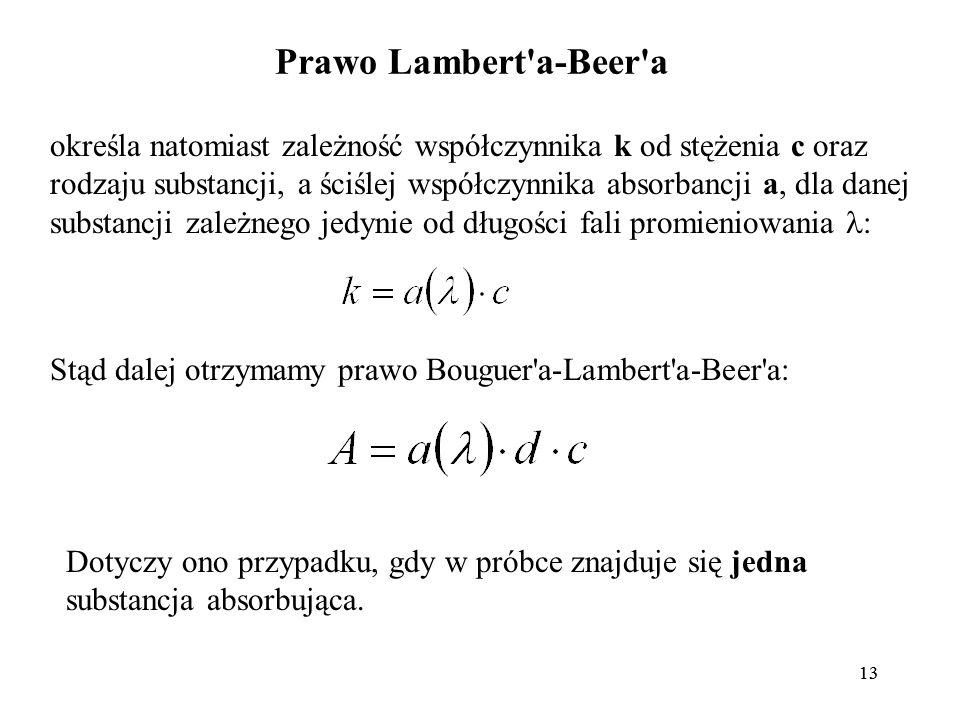 13 Prawo Lambert a-Beer a określa natomiast zależność współczynnika k od stężenia c oraz rodzaju substancji, a ściślej współczynnika absorbancji a, dla danej substancji zależnego jedynie od długości fali promieniowania : Stąd dalej otrzymamy prawo Bouguer a-Lambert a-Beer a: Dotyczy ono przypadku, gdy w próbce znajduje się jedna substancja absorbująca.