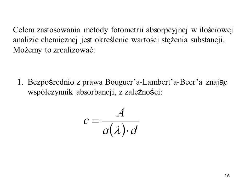 16 Celem zastosowania metody fotometrii absorpcyjnej w ilościowej analizie chemicznej jest określenie wartości stężenia substancji.