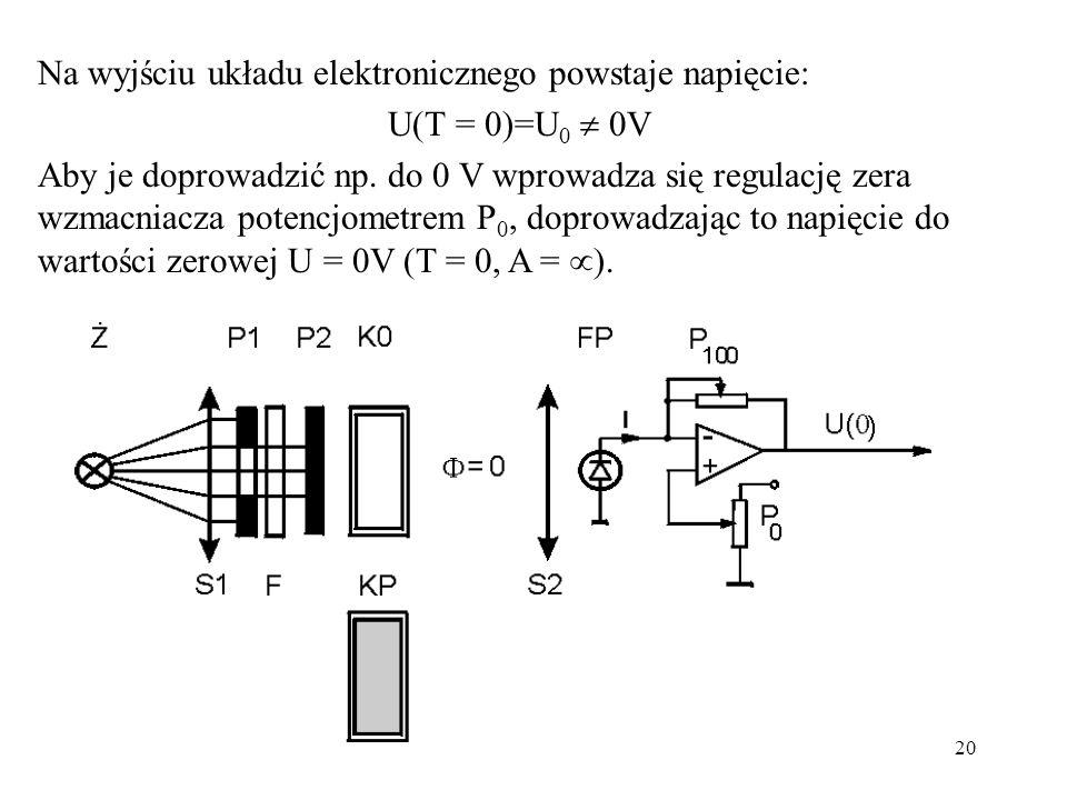 20 Na wyjściu układu elektronicznego powstaje napięcie: U(T = 0)=U 0 0V Aby je doprowadzić np. do 0 V wprowadza się regulację zera wzmacniacza potencj