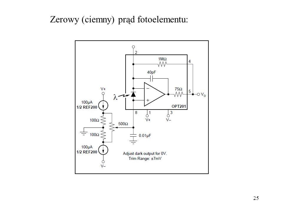 25 Zerowy (ciemny) prąd fotoelementu: