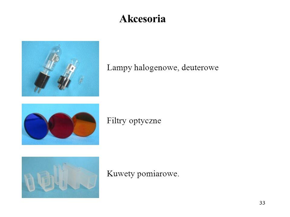33 Akcesoria Lampy halogenowe, deuterowe Filtry optyczne Kuwety pomiarowe.