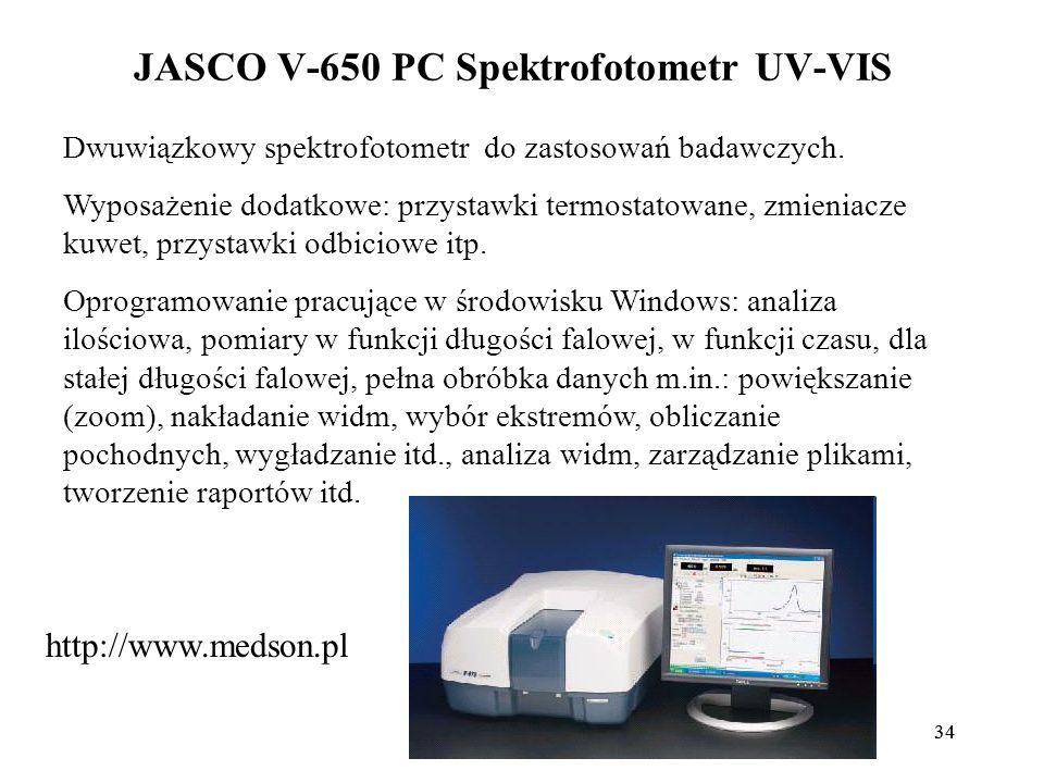 34 JASCO V-650 PC Spektrofotometr UV-VIS Dwuwiązkowy spektrofotometr do zastosowań badawczych.
