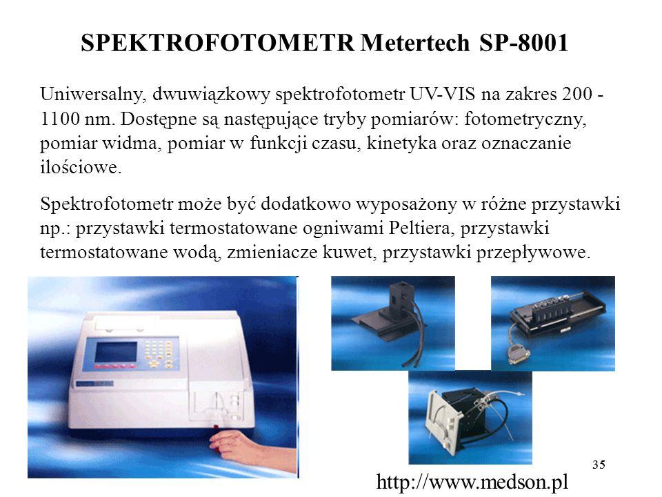35 SPEKTROFOTOMETR Metertech SP-8001 Uniwersalny, dwuwiązkowy spektrofotometr UV-VIS na zakres 200 - 1100 nm. Dostępne są następujące tryby pomiarów: