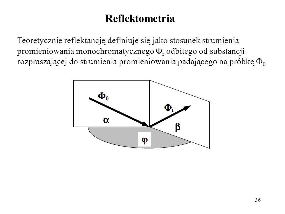 36 Reflektometria Teoretycznie reflektancję definiuje się jako stosunek strumienia promieniowania monochromatycznego r odbitego od substancji rozpraszającej do strumienia promieniowania padającego na próbkę 0