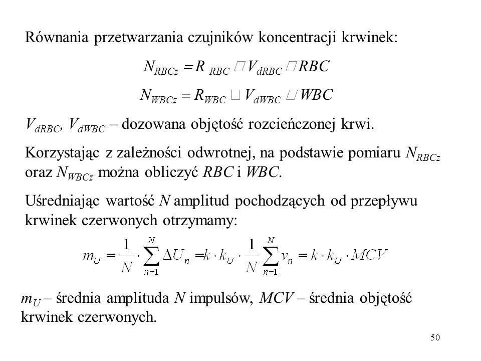50 Równania przetwarzania czujników koncentracji krwinek: N RBCz R RBC V dRBC RBC N WBCz R WBC V dWBC WBC V dRBC, V dWBC – dozowana objętość rozcieńczonej krwi.