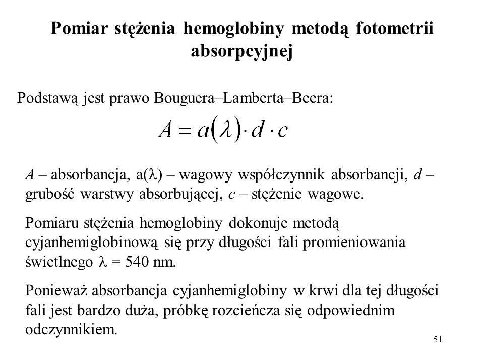 51 Pomiar stężenia hemoglobiny metodą fotometrii absorpcyjnej Podstawą jest prawo Bouguera–Lamberta–Beera: A – absorbancja, a( ) – wagowy współczynnik absorbancji, d – grubość warstwy absorbującej, c – stężenie wagowe.