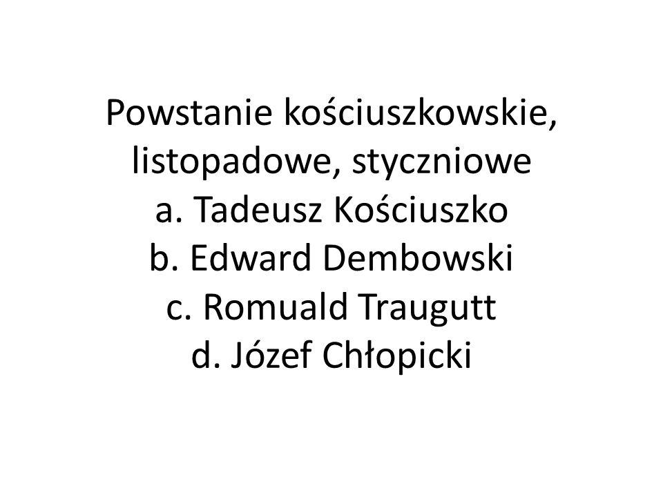 Powstanie kościuszkowskie, listopadowe, styczniowe a.