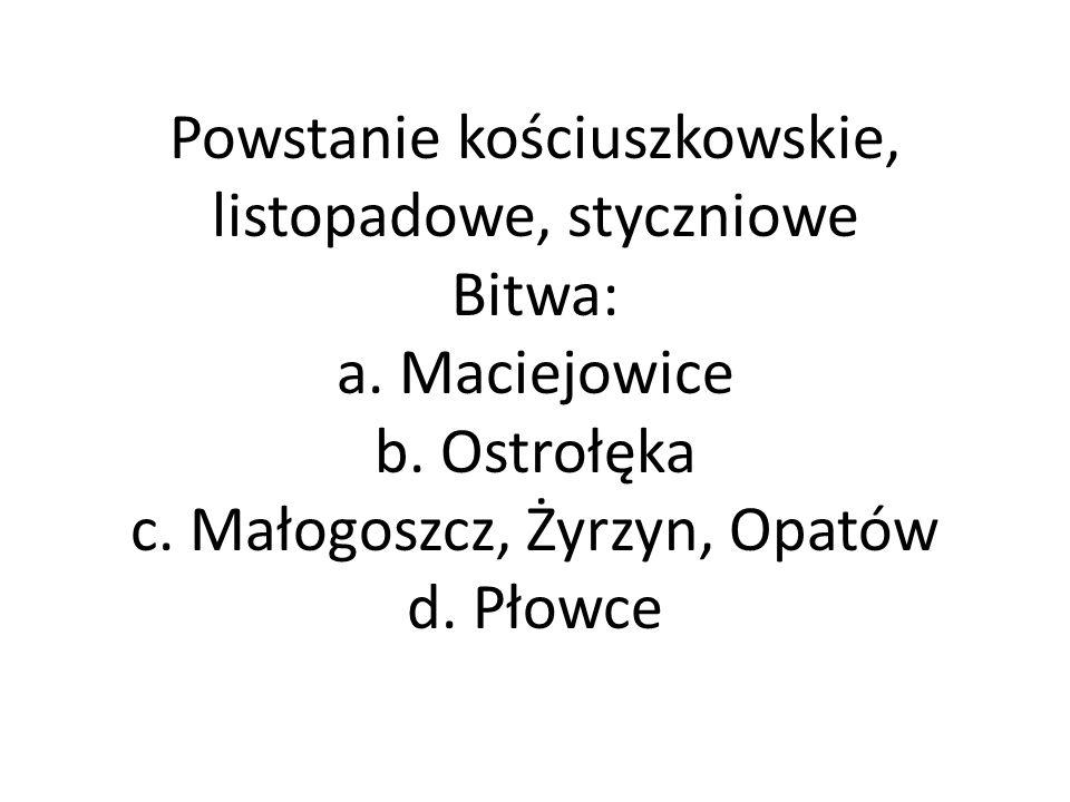 Powstanie kościuszkowskie, listopadowe, styczniowe Bitwa: a.