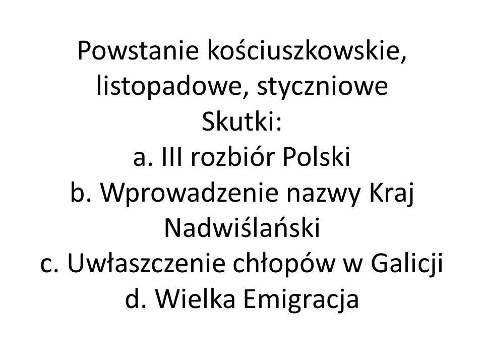 Powstanie kościuszkowskie, listopadowe, styczniowe Skutki: a.