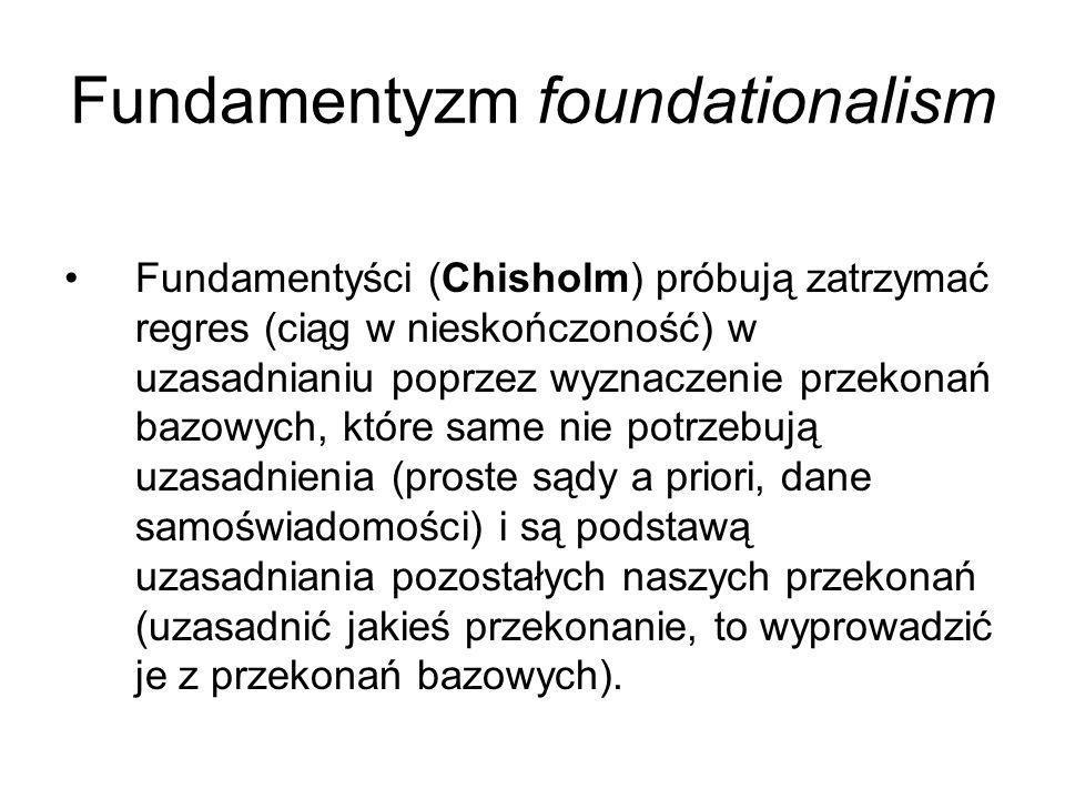 Trudności fundamentyzmu Jak jednak uzasadnić, że te a nie inne przekonania są bazowe i nie potrzebują dalszego uzasadnienia.