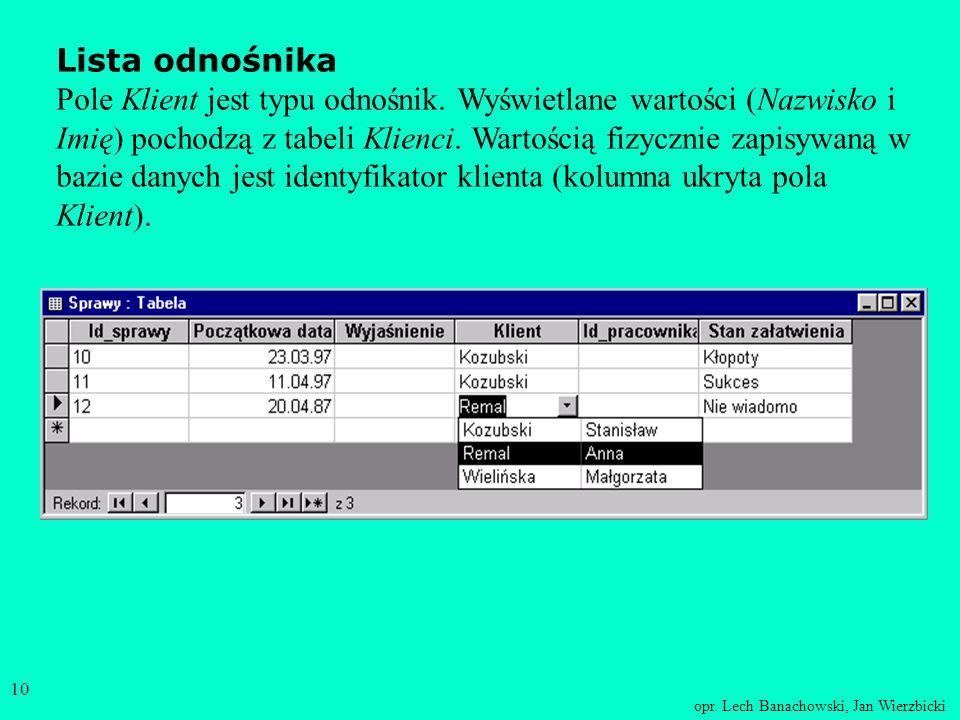 opr. Lech Banachowski, Jan Wierzbicki 9 Jest możliwość wyświetlania w widoku arkusz danych tabeli nie samych wartości odnośnika, ale powiązanych z nim