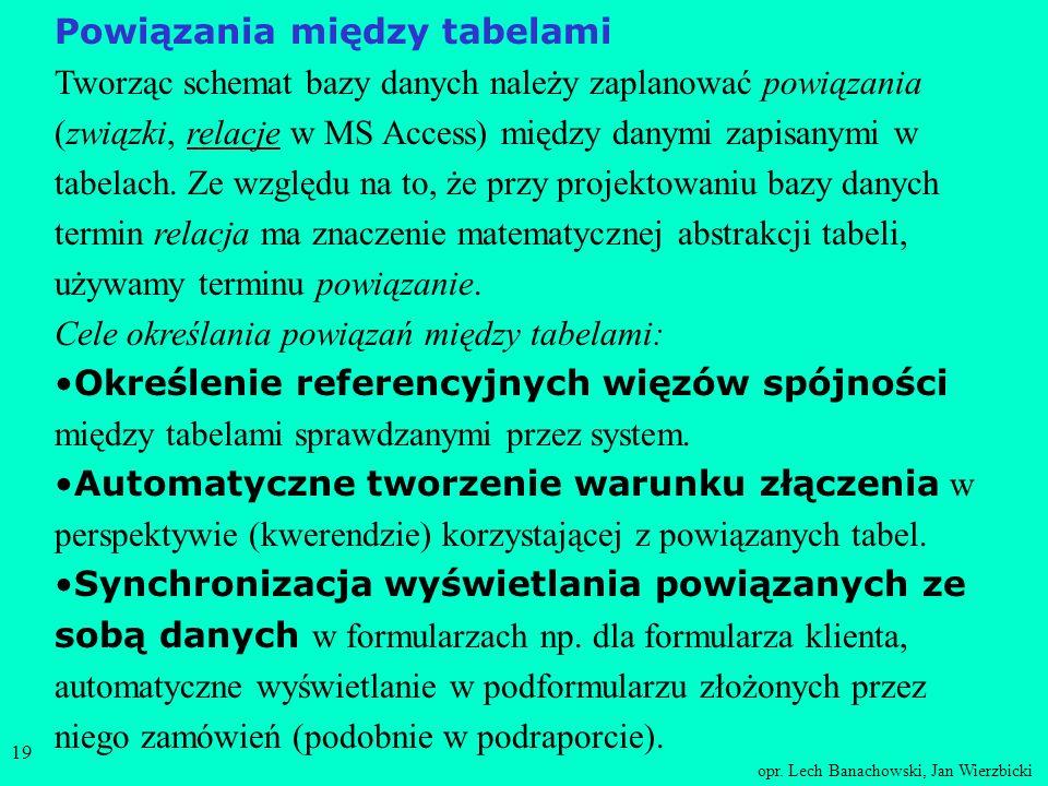 opr. Lech Banachowski, Jan Wierzbicki 18 Zmiana schematu tabeli Używając tego samego interfejsu ekranowego co przy tworzeniu tabeli można dokonywać zm