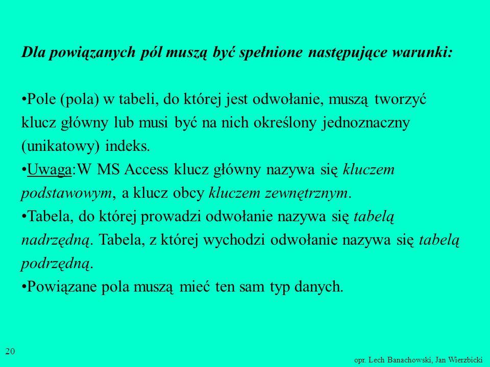 opr. Lech Banachowski, Jan Wierzbicki 19 Powiązania między tabelami Tworząc schemat bazy danych należy zaplanować powiązania (związki, relacje w MS Ac