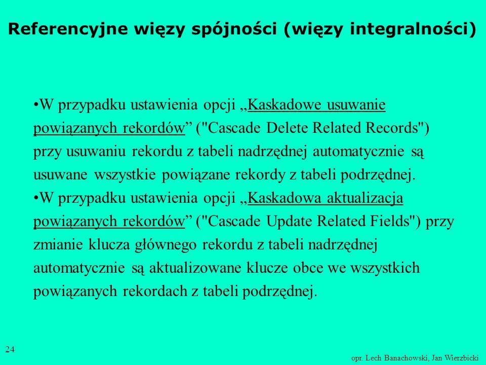 opr. Lech Banachowski, Jan Wierzbicki 23 Referencyjne więzy spójności (więzy integralności) Gdy do tabeli podrzędnej jest wstawiany nowy rekord z okre