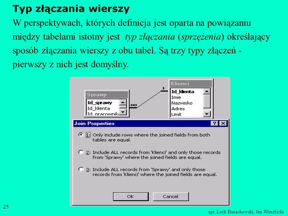 opr. Lech Banachowski, Jan Wierzbicki 24 W przypadku ustawienia opcji Kaskadowe usuwanie powiązanych rekordów (