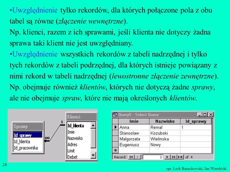 opr. Lech Banachowski, Jan Wierzbicki 25 Typ złączania wierszy W perspektywach, których definicja jest oparta na powiązaniu między tabelami istotny je