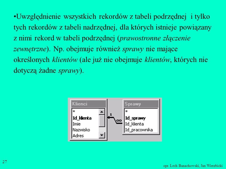 opr. Lech Banachowski, Jan Wierzbicki 26 Uwzględnienie tylko rekordów, dla których połączone pola z obu tabel są równe (złączenie wewnętrzne). Np. kli