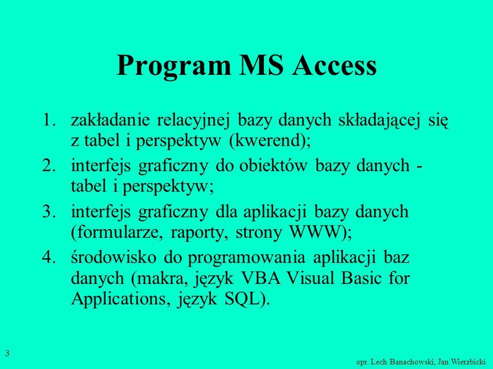 opr. Lech Banachowski, Jan Wierzbicki 2 Płaszczyzny bazy danych projektu – schemat bazy (m.in. tabele, relacje) interfejsu użytkownika – narzędzia umo