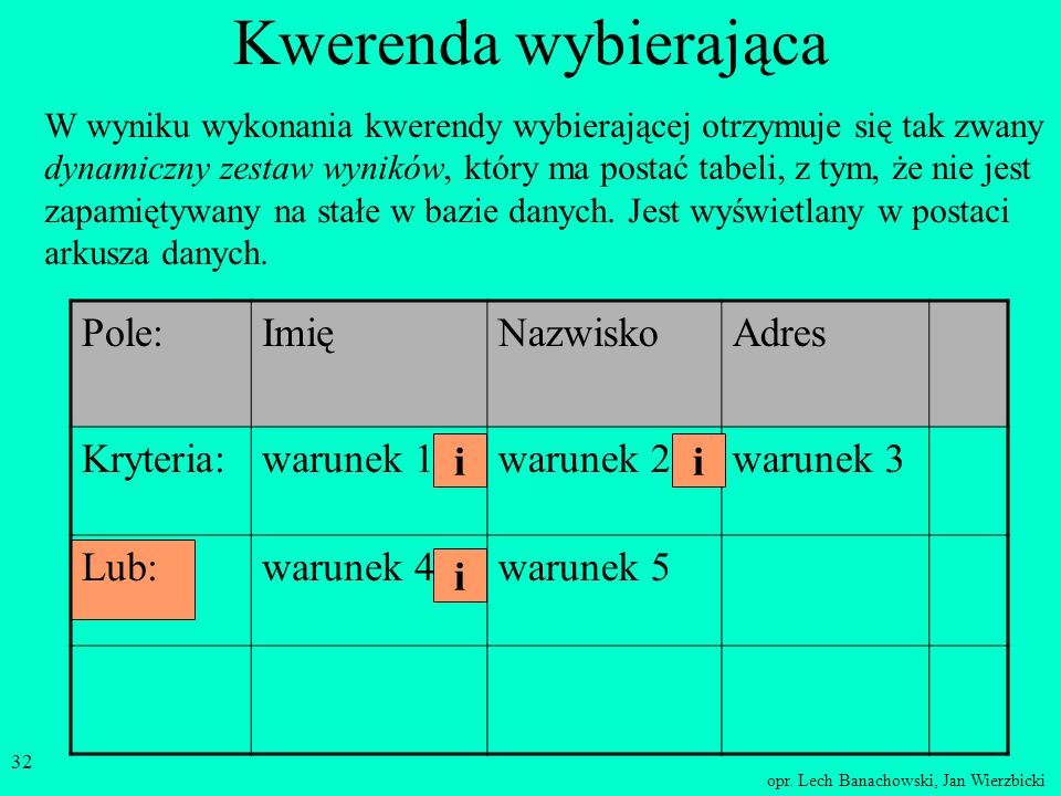 opr. Lech Banachowski, Jan Wierzbicki 31 Kwerenda wybierająca Tabela (jedna) bądź Tabele (kilka) Kwerenda wybierająca określamy warunki wyboru pól i r