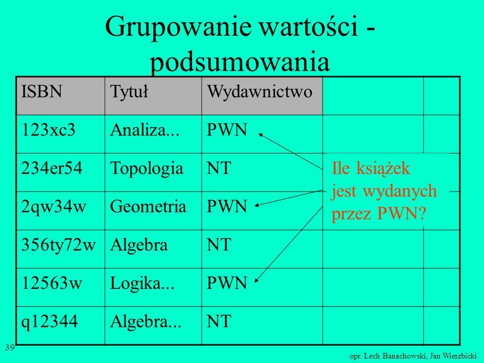 opr. Lech Banachowski, Jan Wierzbicki 38 Przewidywanie zmian wartości w polach można tworzyć kolumnę wirtualną, której wartości powstaną poprzez dział