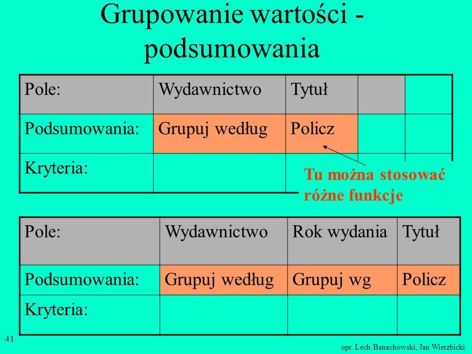 opr. Lech Banachowski, Jan Wierzbicki 40 Grupowanie wartości - podsumowania WydawnictwoTytuł PWN90 NT23 WSiP45.... Tytuł jest zliczony Wartość powtarz