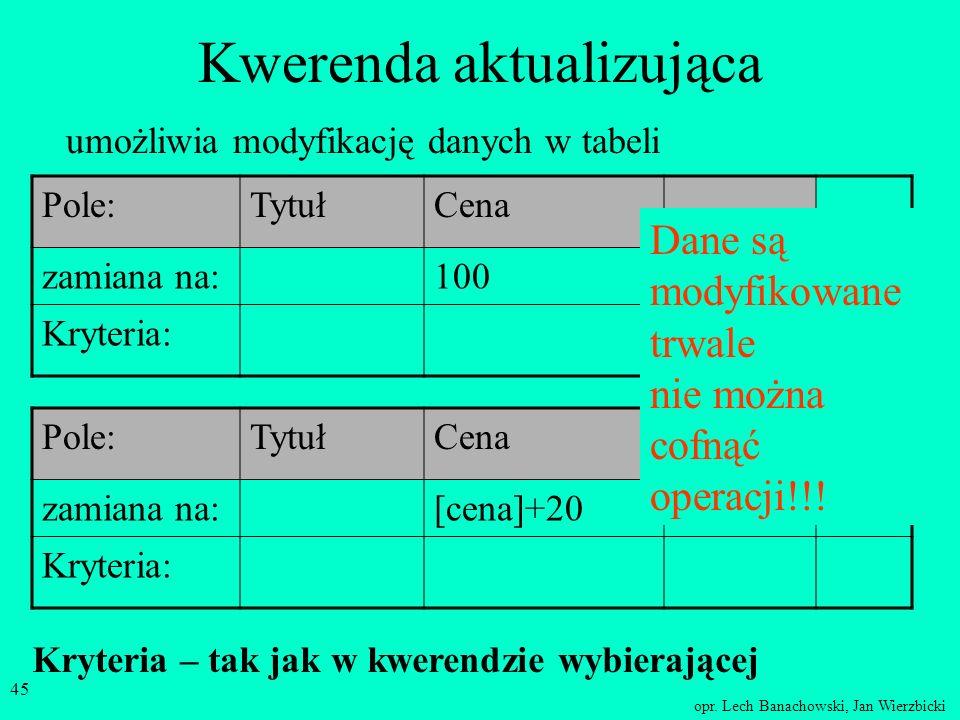 opr. Lech Banachowski, Jan Wierzbicki 44 Wybieranie danych z kilku tabel TytułWydawnictwo AlgebraPWN TopologiaNT AnalizaPWN GeometriaNT LogikaPWN Skró