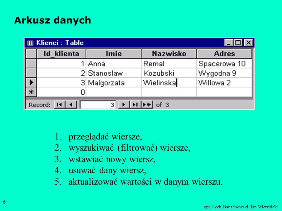 opr. Lech Banachowski, Jan Wierzbicki 5 Projekt tabeli