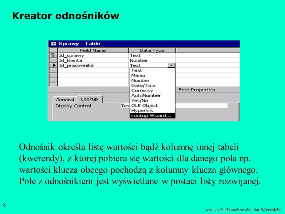 opr. Lech Banachowski, Jan Wierzbicki 7 Typy danych w Accessie : Tekst ( Text ) - napisy do 255 znaków, Memo - długie teksty (do 64000 znaków), Liczba