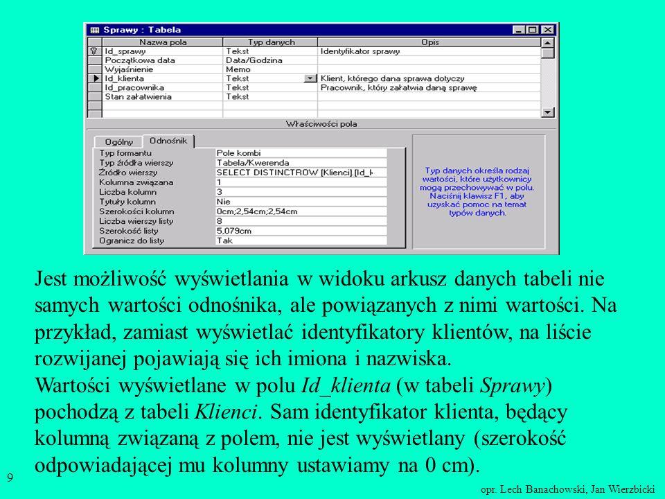 opr. Lech Banachowski, Jan Wierzbicki 8 Kreator odnośników Odnośnik określa listę wartości bądź kolumnę innej tabeli (kwerendy), z której pobiera się