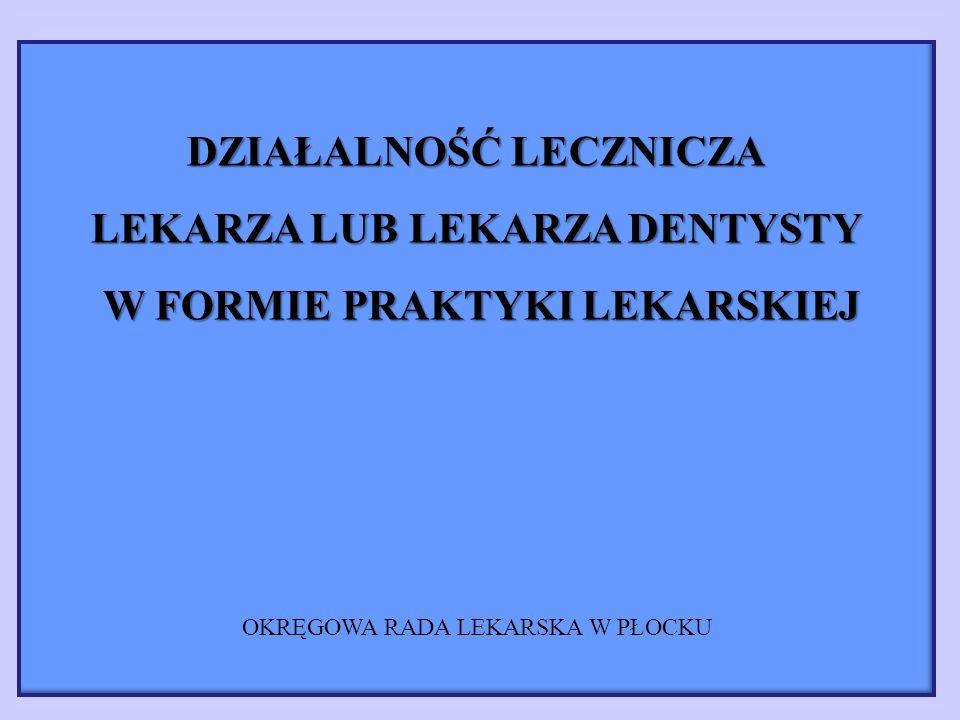 PRAKTYKA ZAWODOWA WYŁĄCZNIE W MIEJSCU WEZWANIA - indywidualna praktyka lekarska - specjalistyczna praktyka lekarska działalność lecznicza w formie jednoosobowej działalności gospodarczej wykonywanej w sposób zorganizowany i ciągły, we własnym imieniu, WYŁĄCZNIE MIEJSCU PRZEBYWANIA PACJENTA (NA WEZWANIE) poza przedsiębiorstwem podmiotu leczniczego lub w podmiocie nie będącym podmiotem leczniczym na podstawie umowy cywilnoprawnej prawo wykonywania zawodu: - nie zawieszone - nie ograniczone w zakresie określonych czynności medycznych posiadanie produktów leczniczych, wyrobów medycznych i sprzętu medycznego odpowiedniego do rodzaju i zakresu udzielanych świadczeń zdrowotnych - przeznaczonego do transportu posiadanie produktów leczniczych, wyrobów medycznych i sprzętu medycznego do udzielania pomocy lekarskiej w przypadku niebezpieczeństwa utraty życia i ciężkiego uszkodzenia ciała lub ciężkiego rozstroju zdrowia - przeznaczonego do transportu prowadzenie indywidualnej dokumentacji medycznej pacjenta kwalifikacje ogólnolekarskie lub specjalistyczne (I st., II st., tytuł specjalisty w odpowiedniej dziedzinie med.) umowa ubezpieczenia OC adres miejsca przyjmowania wezwań i przechowywania dokumentacji medycznej wpis do EDG