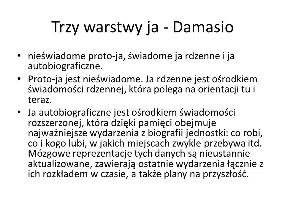 Trzy warstwy ja - Damasio nieświadome proto-ja, świadome ja rdzenne i ja autobiograficzne. Proto-ja jest nieświadome. Ja rdzenne jest ośrodkiem świado