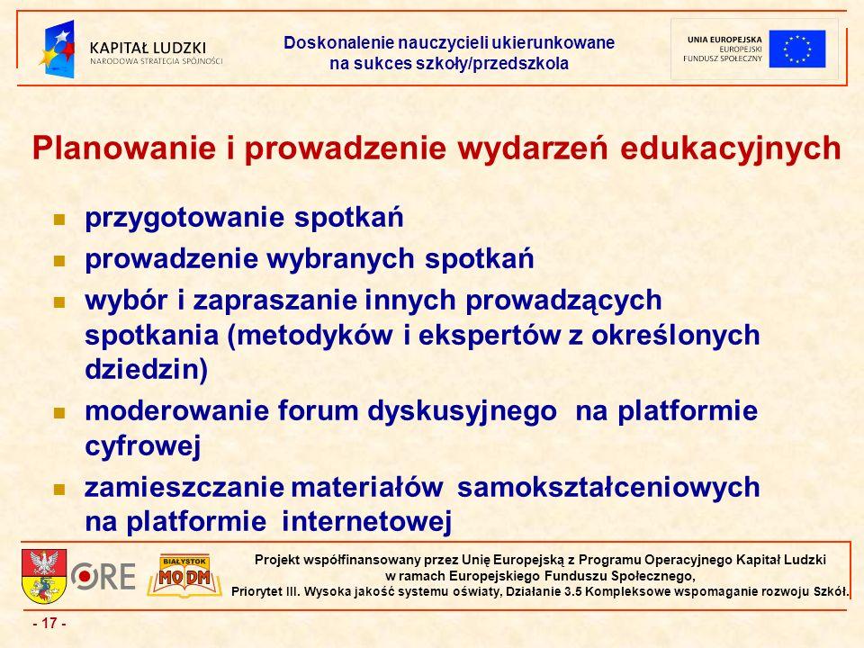 - 17 - Projekt współfinansowany przez Unię Europejską z Programu Operacyjnego Kapitał Ludzki w ramach Europejskiego Funduszu Społecznego, Priorytet III.