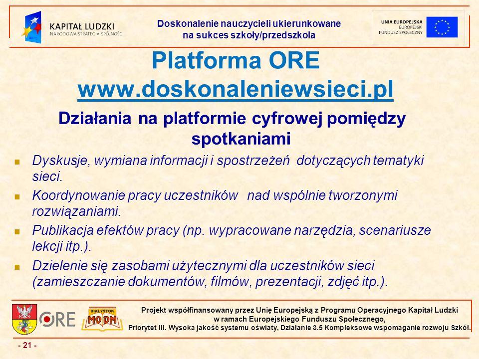 - 21 - Projekt współfinansowany przez Unię Europejską z Programu Operacyjnego Kapitał Ludzki w ramach Europejskiego Funduszu Społecznego, Priorytet III.