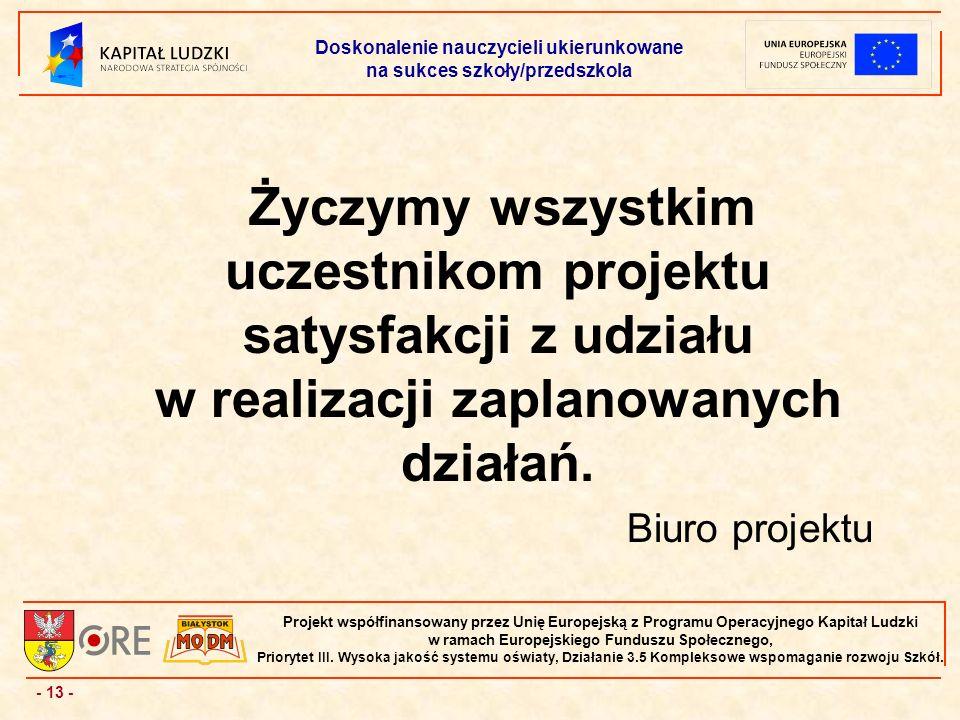 - 13 - Projekt współfinansowany przez Unię Europejską z Programu Operacyjnego Kapitał Ludzki w ramach Europejskiego Funduszu Społecznego, Priorytet III.