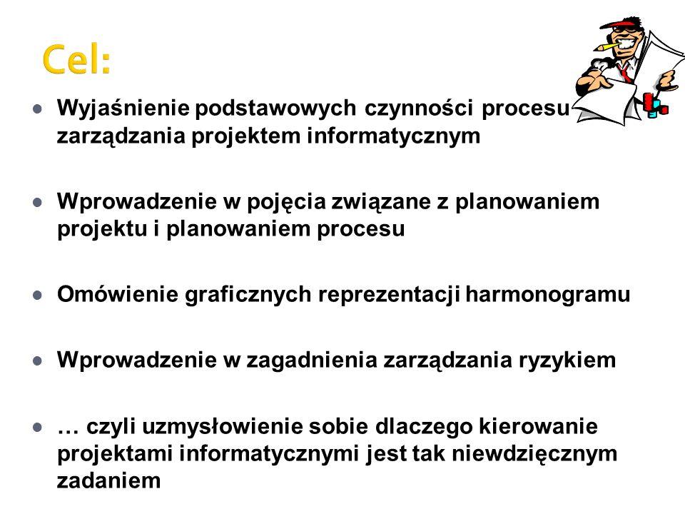 Wyjaśnienie podstawowych czynności procesu zarządzania projektem informatycznym Wprowadzenie w pojęcia związane z planowaniem projektu i planowaniem p